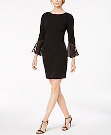 Calvin Klein Petite Ruffled-Sleeve Sheath Dress