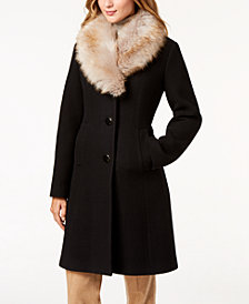 kate spade new york Coat with Faux Fur Collar, Created for Macy's