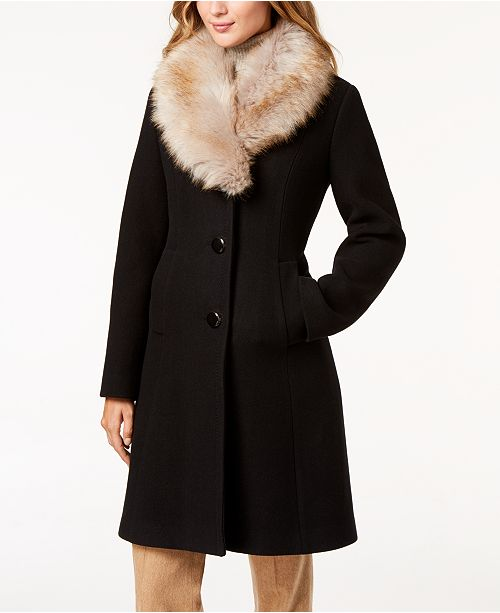 9064f159cb9f kate spade new york Coat with Faux Fur Collar