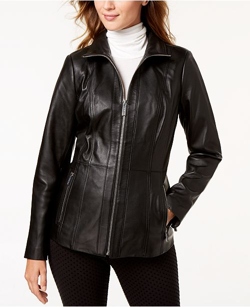 076c697c Michael Kors Leather Scuba Jacket & Reviews - Coats - Women - Macy's