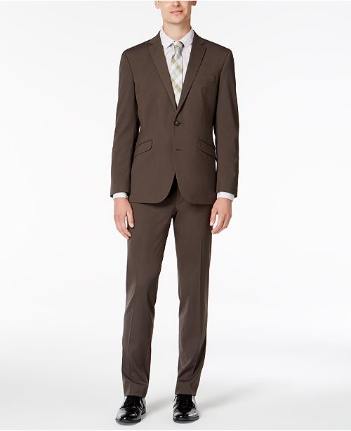 Kenneth Cole Reaction Men's Slim-Fit Techni-Cole Stretch Medium Brown Solid Suit
