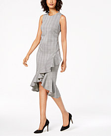 Calvin Klein Petite Menswear Ruffled Sheath Dress