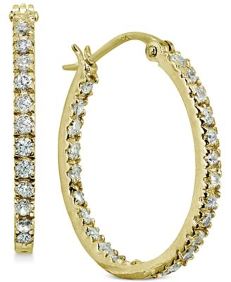 Image of Giani Bernini Small Cubic Zirconia In & Out Oval Hoop Earrings in 18k Gold-Plated Sterling Silver, 0