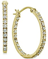 bc2d99e06 Giani Bernini Small Cubic Zirconia In & Out Oval Hoop Earrings in 18k  Gold-Plated