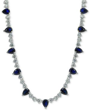 "Giani Bernini Cubic Zirconia 18"" Collar Necklace in Sterling Silver, Created for Macy's"