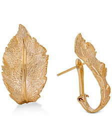 Giani Bernini Leaf Hoop Earrings in 18k Gold-Plated Sterling Silver, Created for Macy's