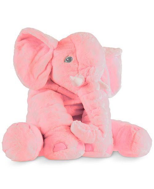 "Trademark Global Happy Trails Plush Pink Elephant Stuffed Animal Pillow, 19"" x 17"" x 17"""