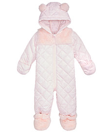 First Impressions Baby Girls Hooded Footed Quilted Snowsuit with Faux-Fur Trim, Created for Macy's