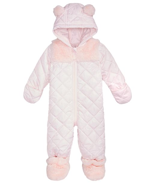0ab26fe509a6 First Impressions Baby Girls Hooded Footed Quilted Snowsuit with ...