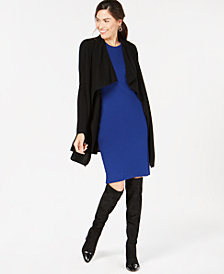 Charter Club Pure Cashmere Open-Front Draped Cardigan, Created for Macy's