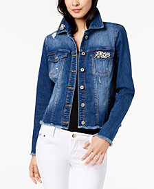 I.N.C. Embellished Denim Jacket, Created for Macy's
