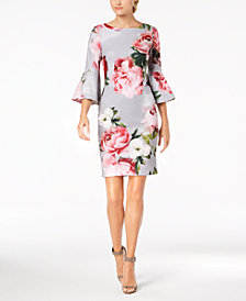 Calvin Klein Embellished Printed Bell-Sleeve Dress