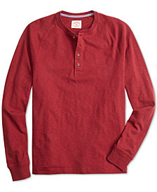 Brooks Brothers Men's Red Fleece Textured-Knit Raglan-Sleeve Henley