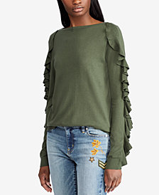 Lauren Ralph Lauren Petite Ruffled-Sleeve Top