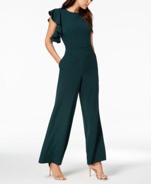 Ruffle-Shoulder Crepe Wide-Leg Jumpsuit in Green
