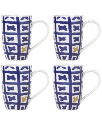 Lenox-Wainwright Pompeii Blu Land 4-Pc. Mug Set, Created for Macy's
