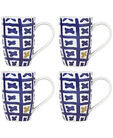 Lenox-Wainwright Pompeii Blu Land 4-Pc. Mug Set, Created for Macy's