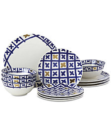 Lenox-Wainwright Pompeii Blu Land 12-Pc. Dinnerware Set, Service for 4, Created for Macy's