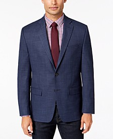 Men's Classic-Fit Ultra Flex Stretch Blue Plaid Sport Coat