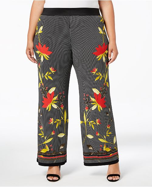 51c10be327f4 Alfani Plus Size Printed Palazzo Pants, Created for Macy's & Reviews ...