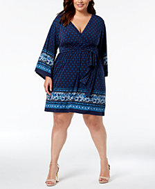 MICHAEL Michael Kors Plus Size Printed Faux-Wrap Dress