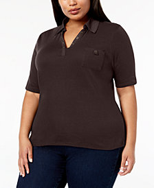 Karen Scott Plus Size Studded Polo Shirt, Created for Macy's