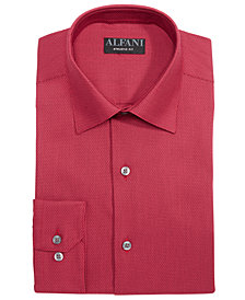 AlfaTech by Alfani Men's Athletic Fit Performance Stretch Step Twill Textured Dress Shirt, Created For Macy's