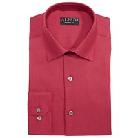 Alfani AlfaTech Men's Athletic Fit Performance Stretch Step Twill Textured Dress Shirt (Red/Dark Purple)