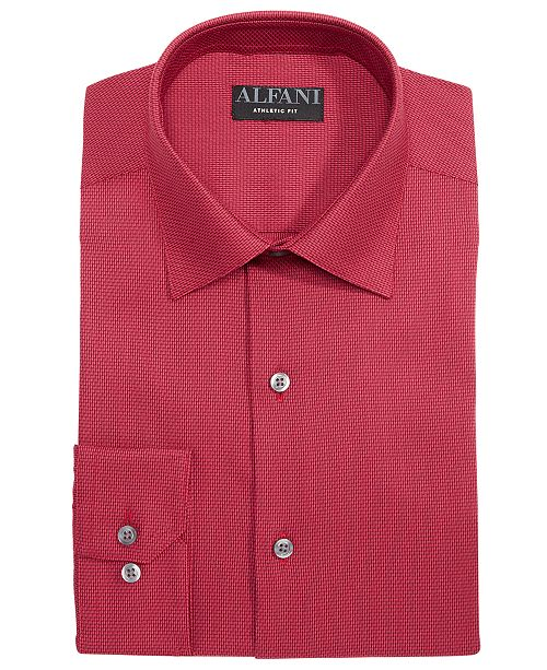 Alfani AlfaTech by Men's Reg/Classic Fit Performance Stretch Step Twill Textured Dress Shirt, Created For Macy's