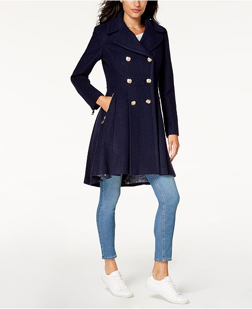 b02df369333fe GUESS Double-Breasted Skirted Coat   Reviews - Coats - Women - Macy s