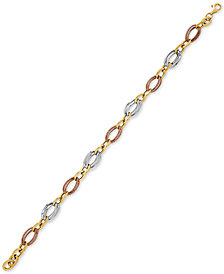 Tricolor Large Link Bracelet in 10k Gold, White Gold & Rose Gold
