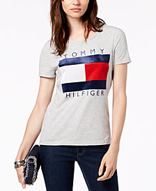 Tommy Hilfiger Velvet-Flocked Logo T-Shirt, Created for Macy's