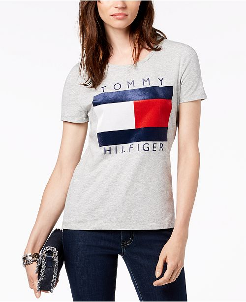 8a54d089a ... Tommy Hilfiger Velvet-Flocked Logo T-Shirt, Created for Macy's ...