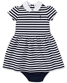 Ralph Lauren Baby Girls Striped Ponté Knit Dress & Bloomer