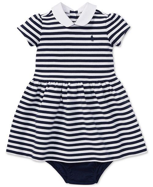Polo Ralph Lauren Ralph Lauren Baby Girls Striped Ponté Knit Dress & Bloomer