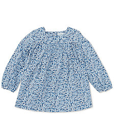 Ralph Lauren Baby Girls Smocked Floral Cotton Top