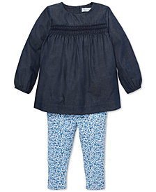 Ralph Lauren Baby Girls Smocked Top & Floral Leggings Set