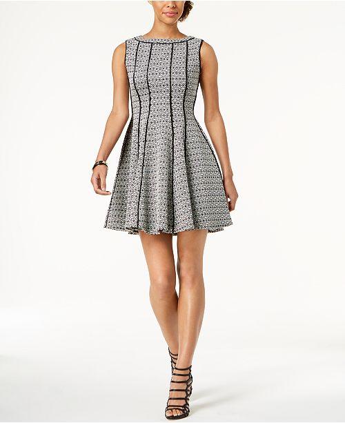 afe32c3dfe9 Taylor Jacquard Fit   Flare Dress   Reviews - Dresses - Women - Macy s