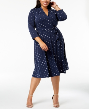 Polka Dot Dresses: 20s, 30s, 40s, 50s, 60s Charter Club Plus Size Dot-Print Fit  Flare Dress Created for Macys $74.63 AT vintagedancer.com