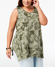 Style & Co Plus Size Printed Handkerchief-Hem Tank Top, Created for Macy's