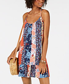Be Bop Juniors' Printed Strappy Flounce Dress