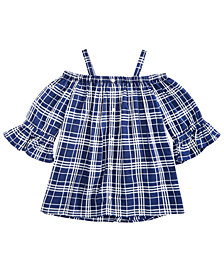 Epic Threads Big Girls Bell-Sleeve Plaid Top, Created for Macy's