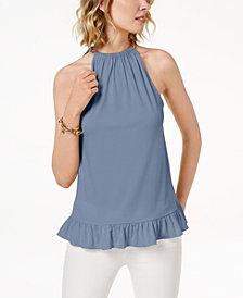 MICHAEL Michael Kors Ruffled Halter Top in Regular & Petite Sizes, Created for Macy's
