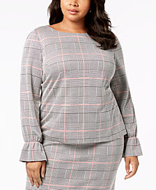 Nine West Plus Size Plaid Top