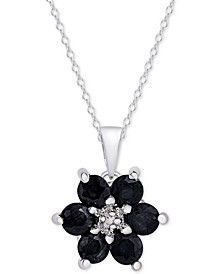 "Sapphire (9/10 ct. t.w.) & Diamond Accent Flower 18"" Pendant Necklace in Sterling Silver"