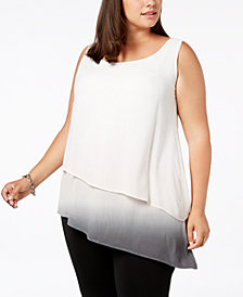 Joseph A Plus Size Asymmetric Dip-Dye Sleeveless Top