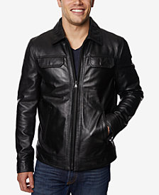 Perry Ellis Men's Full-Zip Leather Jacket, Created for Macy's