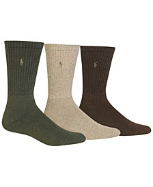3 Pack Ribbed Cushion Foot Crew Men's Socks