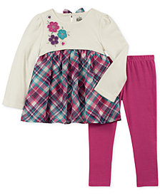 Kids Headquarters Toddler Girls 2-Pc. Long-Sleeve Embroidered Plaid Tunic & Leggings Set