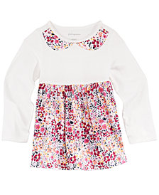 First Impressions Floral-Print Faux-Collar Cotton Tunic, Created for Macy's